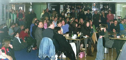 audience and slam poets from Canada at the 2 February 2005 slams, at RADA